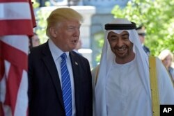 President Donald Trump welcomes Abu Dhabi's Crown Prince Sheikh Mohammed bin Zayed Al Nahyan to the White House in Washington, May 15, 2017.
