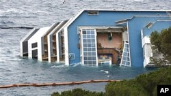 Collapsed skylight of grounded cruise ship Costa Concordia, Italy, Feb. 1, 2012.