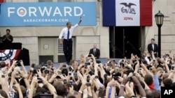 美国总统奥巴马在竞选征途中