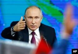 Rossiya Prezident Vladimir Putin yillik matbuot anjumanida. Moskva. 20-dekabr, 2018