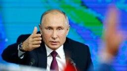Tổng thống Nga Vladimir Putin tại cuộc họp báo thường niên hôm thứ Năm 20/12/2018.