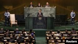Presidente Barack Obama discursa perante a Assembleia Geral da ONU, a 25 de Setembro de 2012
