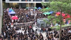 Thousands of parents and children gathered outside government headquarters across Hong Kong, protesting the launch of a