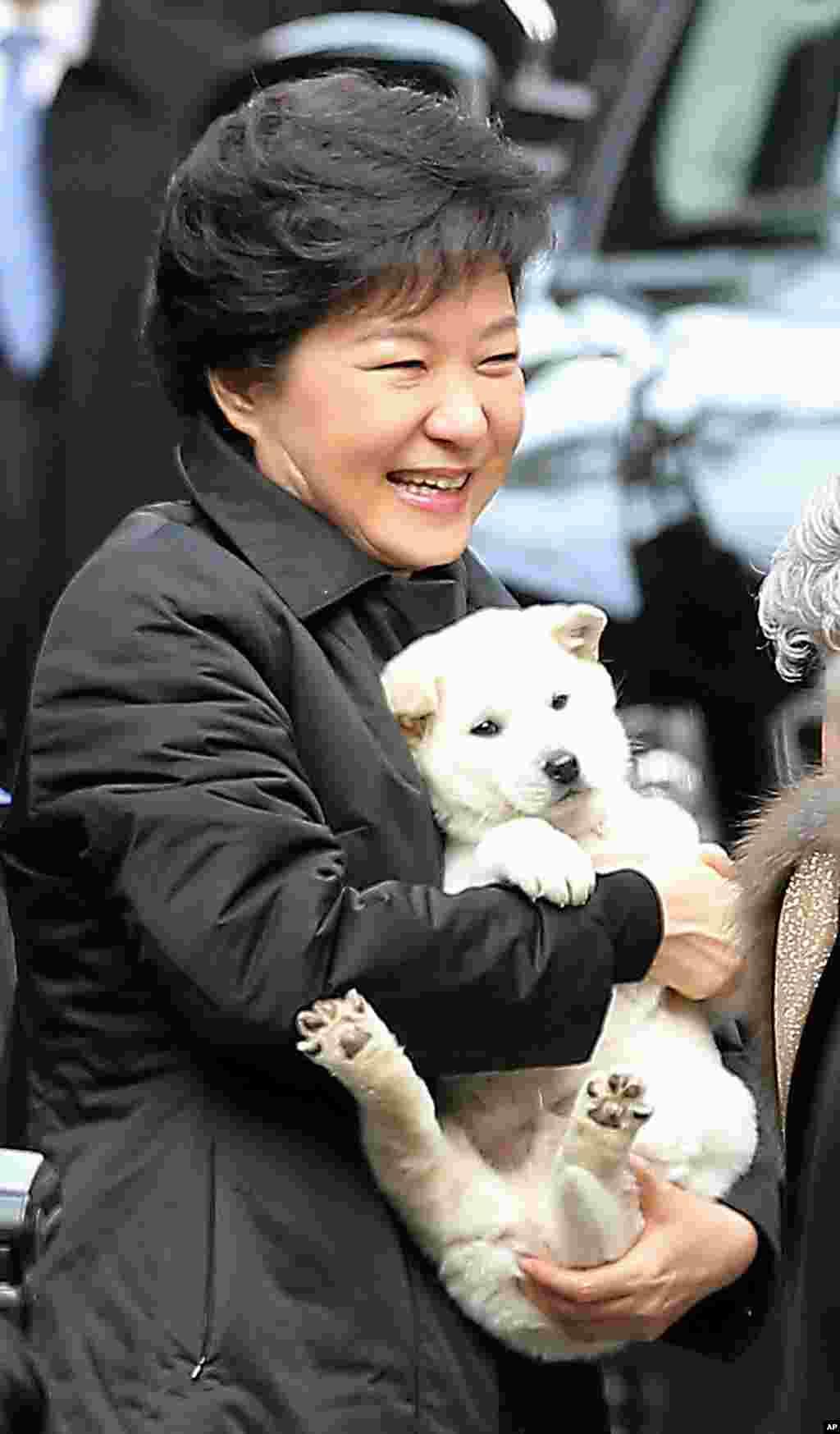 Predsjednica Južne Koreje Park Geun-hye sa psom koji joj je poklonila susjeda pred polazak na ceremoniju njene inauguracije. (AP)