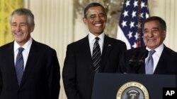 Чак Хейгел, Барак Обама и Леон Панетта. Белый дом, Вашингтон. 7 января 2013 года