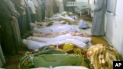 Imagen tomada por un videoaficionado de algunas de las víctimas de la matanza en Tremseh.