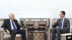 دیدار رئیس اتحادیۀ کشور های عرب با رئیس جمهور سوریه