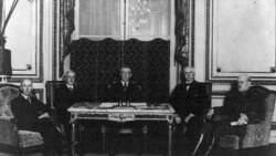 Americans at the peace conference, from left: Colonel Edward House, Secretary of State Robert Lansing, President Woodrow Wilson, Henry White and General Tasker Bliss
