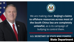Pernyataan Menteri Luar Negeri AS Mike Pompeo mengenai Laut China Selatan pada 13 Juli 2020. (Foto: Kemenlu AS)