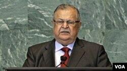 Presiden Irak, Jalal Talabani saat memberikan pidato di depan Majelis Umum PBB, Jumat (23/9).