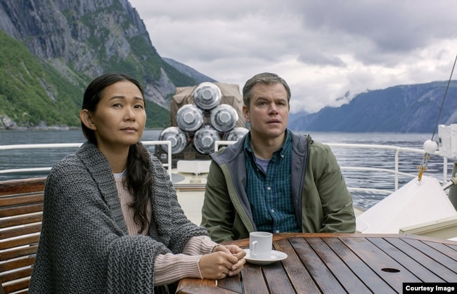 Hong Chau and Matt Damon in the film