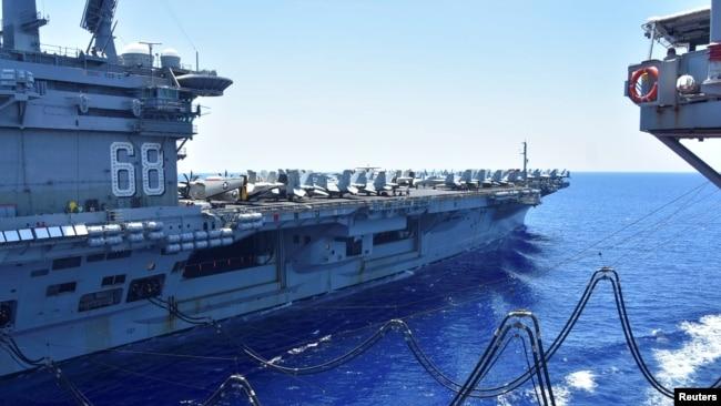 Hàng không mẫu hạm Hoa Kỳ USS Nimitz trên Biển Đông vào ngày 7/7/2020.