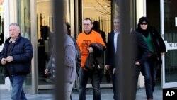 José Ignacio de Juana Chaos, centre, a convicted former ETA terrorist leaves a court in Belfast, Northern Ireland