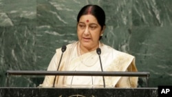 Sushma Swaraj, India's minister of external affairs, speaks during the 70th session of the U.N. General Assembly in New York, Oct. 1, 2015.