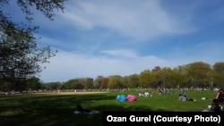 民眾在美國紐約市中央公園享受陽光時也有注意社交距離(2019年5月1日)