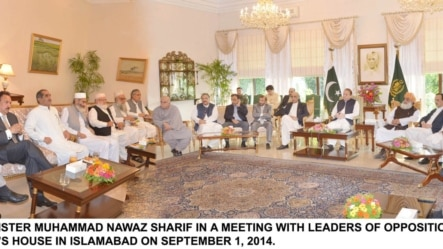 PRIME MINISTER MUHAMMAD NAWAZ SHARIF IN A MEETING WITH LEADERS OF OPPOSITION PARTIES AT THE PM'S HOUSE IN ISLAMABAD ON SEPTEMBER 1, 2014.