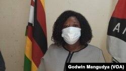 MDC Alliance international relations secretary, Gladys Hlatywayo, addressing the media in Harare.