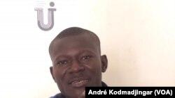 Belngar Larmé Laguerre président de l'Union des Journalistes Tchadiens (UJT), 22 mai 2017. (VOA/ André Kodmadjingar)