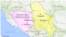 Карта Боснії і Герцеговини із суміжними країнами