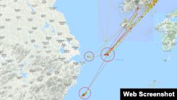 루니스 호의 지난 1년간 항적을 표시한 마린트래픽 지도. 미국 정부가 주요 환적지로 지목한 해역(원 안)에 여러 차례 머문 뒤 다시 돌아간 흔적이 있다. 빨간색은 선박이 멈춘 것을 의미하며, 노란색은 저속, 녹색은 정상 속도로 운항했음을 나타낸다. 자료제공=MarineTraffic