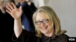 1일 퇴임식을 가진 힐러리 클린턴 전 미국 국무장관.