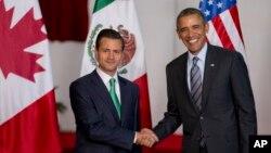 Presiden Meksiko Enrique Pena Nieto (kiri) dan Presiden Barack Obama saat bertemu di KTT para pemimpin negara-negara Amerika Utara di Toluca, Meksiko, 19 Februari 2014 (Foto: dok).