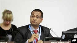 Ahmed Shaheed, UN Special Rapporteur on the Situation of Human Rights in the Islamic Republic of Iran, attends a meeting of the General Assembly's Third Committee on the promotion and protection of human rights, October 19, 2011