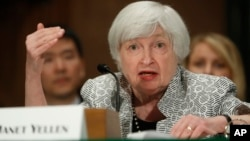 Federal Reserve Chair Janet Yellen testifies on Capitol Hill in Washington, July 13, 2017, before the Senate Banking Committee.