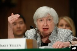 FILE - Federal Reserve Chair Janet Yellen testifies on Capitol Hill in Washington, July 13, 2017, before the Senate Banking Committee.