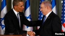 바락 오바마 미국 대통령(왼쪽)이 20일 예루살렘에서 베냐민 네타냐후 이스라엘 총리와 공동기자회견을 가졌다.