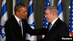 Prezident Obama va Isroil bosh vaziri Benyamin Netanyaxu matbuot anjumani paytida, Quddus, 20-mart, 2013-yil