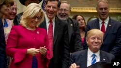 ფოტოზე რესპუბლიკელი კონგრესმენი, ლიზ ჩეინი აშშ-ის 45-ე პრეზიდენტთან, დონალდ ტრამპთან ერთად. 27 მარტი, 2017 წელი.