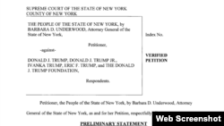Dokumen gugatan Jaksa Agung New York Barbara Underwood terhadap yayasan Trump.
