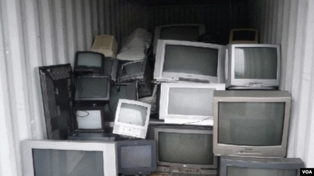 Stockpile of analogue televisions in Douala, Cameroon