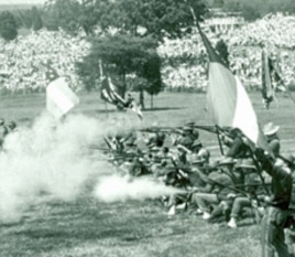 In 1961, Manassas National Battlefield hosted a re-enactment. Although still popular with many people, re-enactments are now deemed an inappropriate way to commemorate the Civil War by the National Park Service.