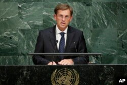 FILE - Slovenian Prime Minister Miro Cerar addresses the 2015 Sustainable Development Summit, Sept. 25, 2015, at the United Nations headquarters.