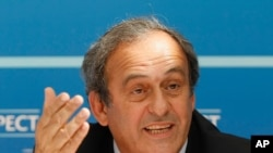 Michel Platini, vendredi 28 août 2015 à Monaco. (AP Photo/Claude Paris)