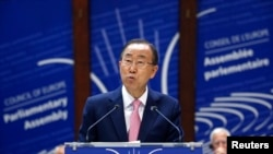 United Nations Secretary-General Ban Ki-moon addresses the Parliamentary Assembly of the Council of Europe in Strasbourg, France, June 23, 2015.