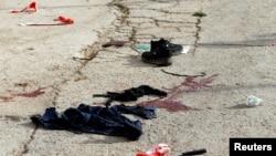 La scène d'une attaque au couteau, Tal-Rumida, Hébron, Cisjordanie, le 17 septembre 2016.