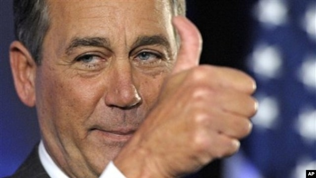 House Republican leader John Boehner of Ohio celebrates the GOP's victory that changes balance of power in Congress and will likely elevate him to speaker of the House, during election night gathering hosted by National Republican Congressional Committee