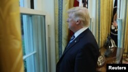 U.S. President Donald Trump looks out a window of the Oval Office following an interview with Reuters at the White House in Washington, April 27, 2017.