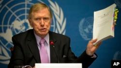 联合国朝鲜人权问题调查委员会主席迈克尔·科比(2014年2月17日资料照片)