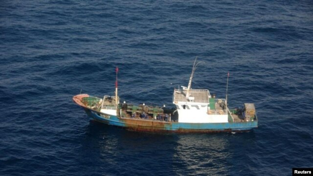 FILE - A Chinese fishing boat is shown Dec. 29, 2012. The Argentine coast guard sunk a Chinese trawler illegally fishing in its territorial waters, according to reports Tuesday.