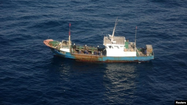 A Chinese fishing boat, detained by Japan's coastguard, is seen in this handout photo taken December 29, 2012.