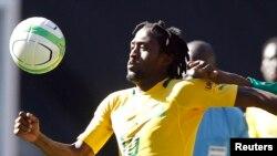 Lerato Chabangu des Bafana Bafana lors d'un match à Soweto, 17 août 2017.