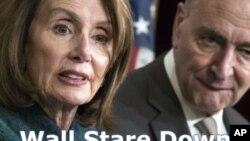 Lidè Demokrat nan Kongrè a: Depite Nancy Pelosi (D-Kalifòni, agoch) avèk Senatè Chuck Schumer (D-New York).