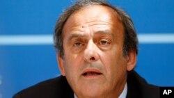 Le président de l'UEFA Michel Platini lors d'une conférence de presse au Forum Grimaldi à Monaco, Aout 2015. Source : AP