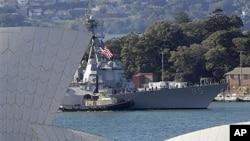 호주 시드니를 항해하는 미 해군 함정 (자료사진)