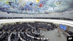 联合国人权理事会2012年2月紧急讨论叙利亚人权与人道问题时的会场情景。