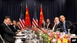 奧巴馬和習近平以及雙方代表團舉行會談(2016年11月19日)